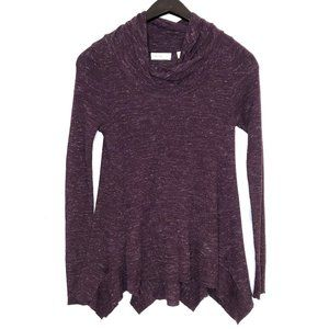 sleeping on snow maroon cowl neck sweater top M